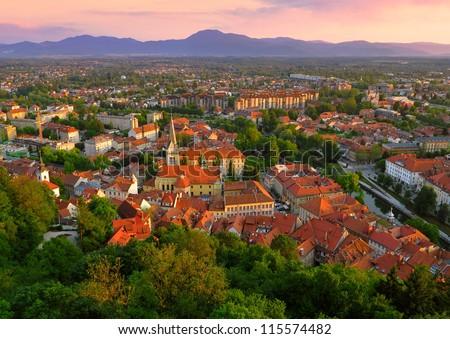 Sunset scene of beautiful Capital City Ljubljana in Slovenia - stock photo