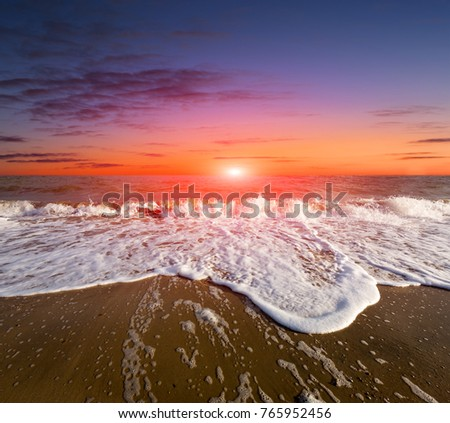 Sunset scene over sea shore