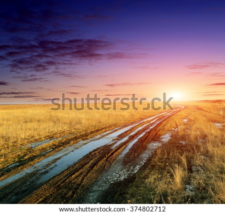 sunset scene with dirt road in steppe