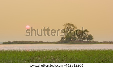 sunset scene with tree island and lake