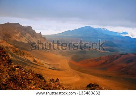 Sunset scenery from the top of the Haleakala volcano, Maui, Hawaii - stock photo