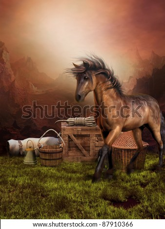 Sunset scenery with a brown horse on a meadow - stock photo