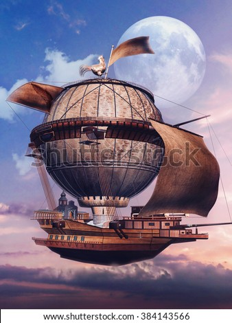Sunset scenery with a fantasy flying aircraft and the moon - stock photo