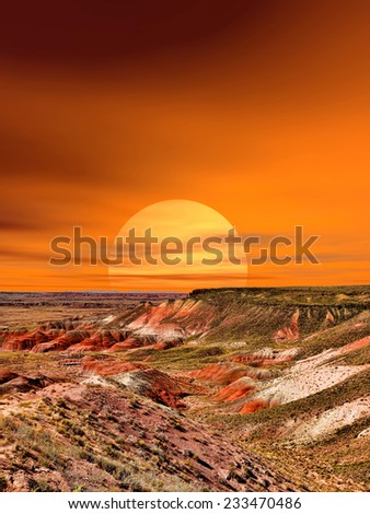Sunset scenic landscape of ancient petrified forest in Arizona - stock photo