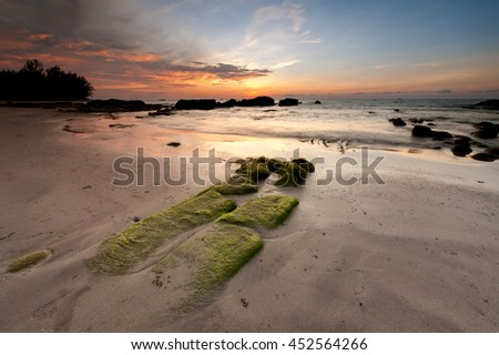 sunset seascape at Kudat sabah. image contain soft focus and blur. - stock photo