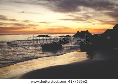 Sunset Seascape El Matador Beach Malibu California - stock photo