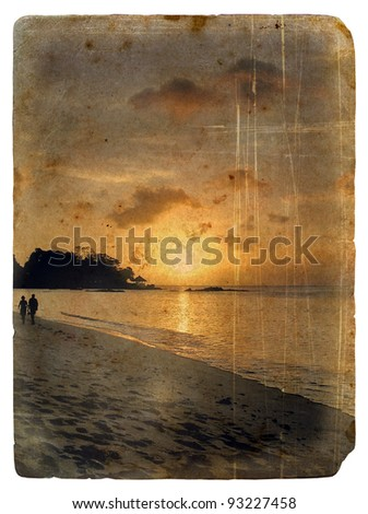 Sunset, Seychelles. Old postcard, design in grunge and retro style - stock photo