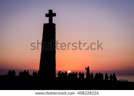 Sunset silhouettes at  Cabo da Roca in Portugal,the western  end of Europe