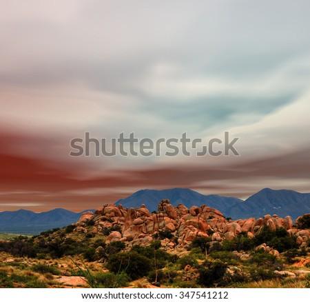 Sunset skies in Texas Canyon in Southeast Arizona - stock photo