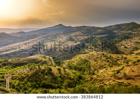 Sunset sky above hills, mountain landscape, Spain, Europe