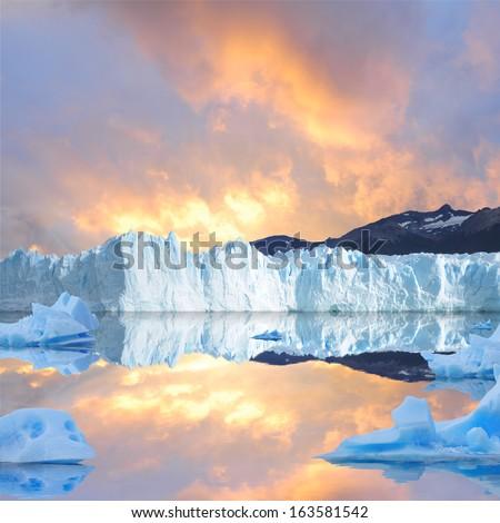 Sunset sky above the glacier.  - stock photo