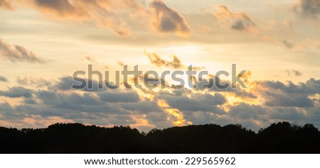 Sunset sky and silhouette mountain