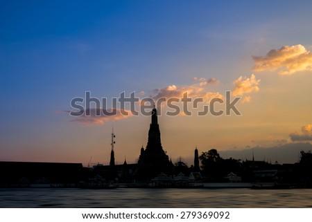 Sunset Sky at Wat Arun Temple landmarks of bangkok Thailand - stock photo