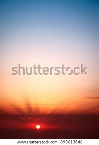 Sunset sky background, red sun down, beauty of nature, amazing panoramic view with copy space - stock photo