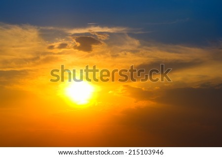 Sunset sky in summer time