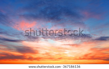 Sunset sky over the sea