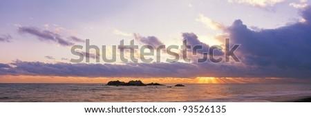 Sunset sky sea - stock photo