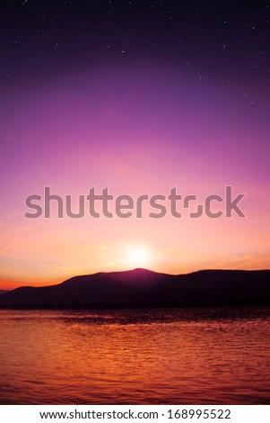 sunset sky star background - stock photo