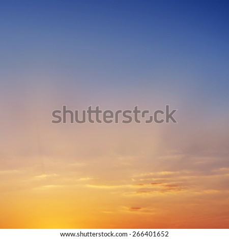 Sunset sky with a little cloud for background. - stock photo