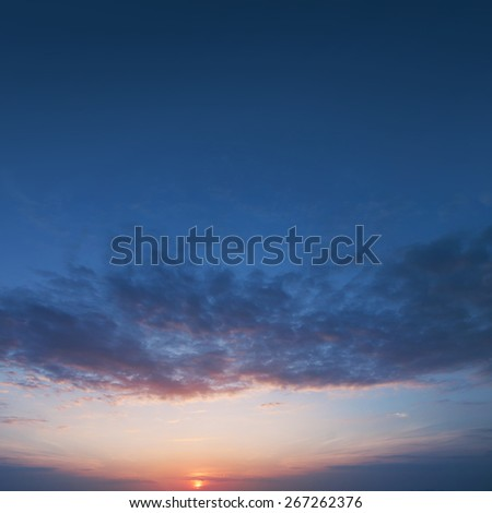 Sunset sky with cloud for background. - stock photo