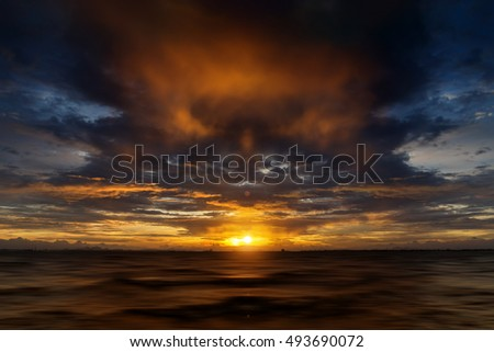 Sunset sky with rain cloud on the lake.