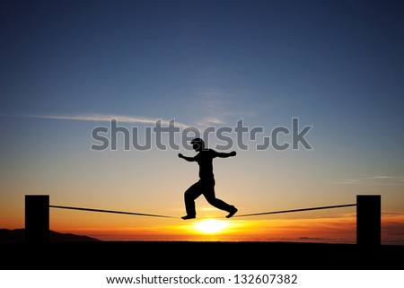 sunset slackline - stock photo