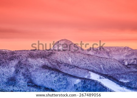 sunset snow mountain  - stock photo