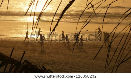 Sunset Soccer, The Gambia - stock photo