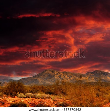Sunset Sonora desert mountains in central Arizona USA - stock photo