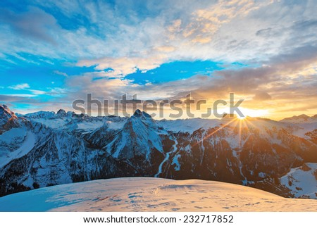 Sunset, sunrise in Alpes - european skiing resort - stock photo