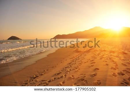 sunset/sunrise on the beach  - stock photo