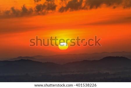 sunset,sunrise with mountain - stock photo
