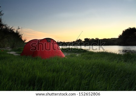 sunset tent - stock photo