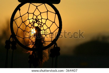Sunset Through Dream Catcher - stock photo