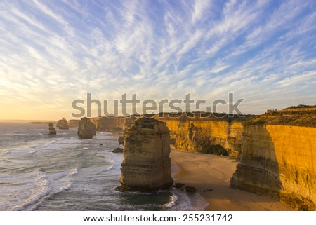 Sunset time at twelve apostles attractions on Green Ocean Road Australia - stock photo