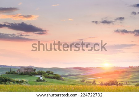 sunset Tuscany landscape, Toscana, Italy - stock photo