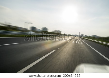 Sunset Urban Highway - stock photo