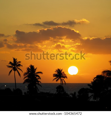 sunset, Varadero, Cuba - stock photo