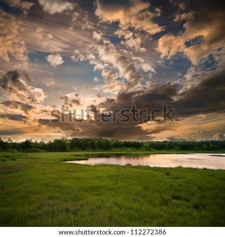 Sunset vertorama - stock photo