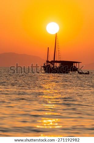 Sunset view at pranang beach of Railay Krabi Thailand  - stock photo