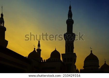 Sunset view from the Grand Mosque in the Philippines - stock photo