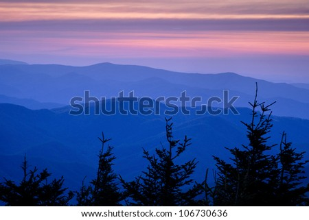 Sunset view from the highest point in the eastern United States - Mount Mitchell.  This peak is just off the Blue Ridge Parkway in North Carolina - stock photo