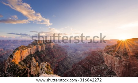 Sunset view from the over look on Cape Royal in Grand Canyon North Rim. - stock photo