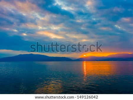 Sunset view from the port of Nafplio town the first capital of Greece - stock photo