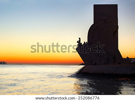 Sunset view of  Discoveries  Monument in Lisbon, Portugal - stock photo