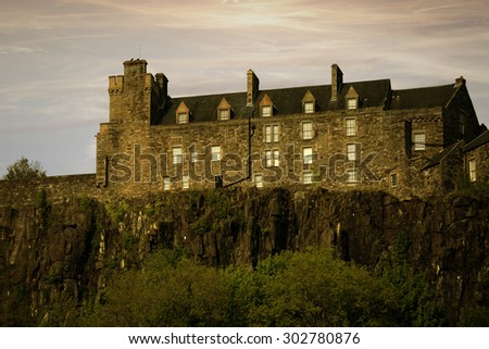 Sunset view of Stirling Castle - stock photo