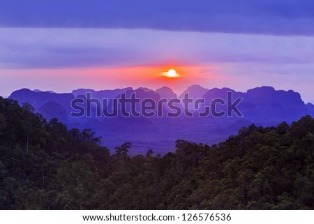 Sunset view of the beauty mountains