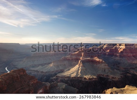 Sunset view of the Grand Canyon from the Hopi point along the South Rim, Arizona landmark - stock photo