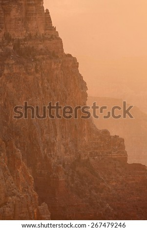 Sunset view of the Grand Canyon from the Lipan point along the South Rim, Arizona landmark - stock photo