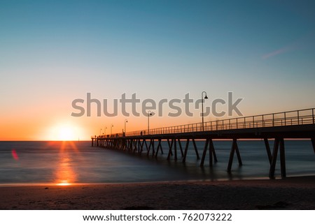 Sunset view with clear sky at Glenelg Jetty, Adelaide, Australia